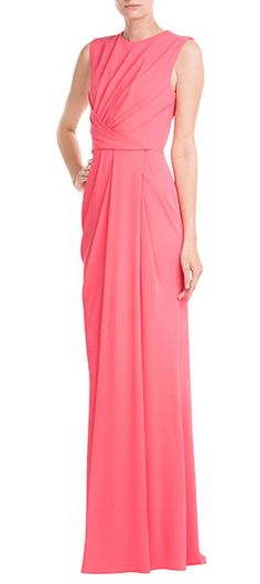 Elie Saab's streamlined pink evening gown is understated in its design, with a simple, draped front and tonal leather belt as the only embellishments. An elegant and timeless choice for special occasions #Stylebop