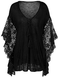 Plus Size Butterfly Sleeve Crochet Trim Blouse Lace Tops Plus Size Shirts, Plus Size Blouses, Plus Size Tops, Plus Size Women, Plus Size Dresses, Plus Size Outfits, Lacy Tops, Black Lace Tops, Look Plus Size