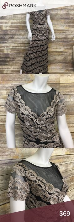 Pewter and Black Lace Floor Length Evening Gown Beautiful lace gown with sheer cover in front. Great dress to wear to a wedding! 80% polyester, 17%nylon, 3% spandex. Brand new with tags! R&M Richards Dresses Wedding
