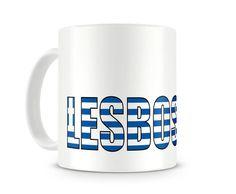 Tasse mit Lesbos Schriftzug. Eine Tasse bedruckt mit dem Schriftzug Lesbos