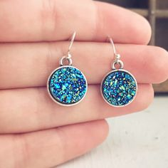Faux Druzy Earrings / Gift Under 10 Bridesmaids Bridal Party Wedding Favors Boho Bohemian Lover Blue Gypsy Style Silver Round Disks Dangly by lydiasvintage on Etsy https://www.etsy.com/listing/499797269/faux-druzy-earrings-gift-under-10