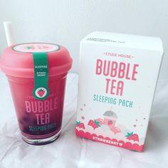 "67 lượt thích, 8 bình luận -  (@iamxio) trên Instagram: ""I'm such a sucker for pretty packaging!  #EtudeHouse bubble tea sleeping pack in strawberry will…"""