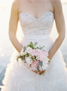 Gorgeous bouquet... and that dress! | Photo by Ozzy Garcia via Snippet & Ink