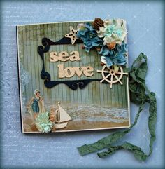 Scraperry's: maritime vintage mini album with the Holiday Romance collection and ScrapBerry's flowers by Valia Katzaki