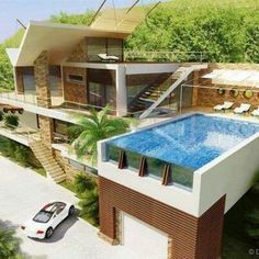 Pool over the storage. neat use of house! Pool over the storage. neat use of house! Amazing Architecture, Architecture Design, Chinese Architecture, Creative Architecture, Sustainable Architecture, Residential Architecture, Contemporary Architecture, Future House, My House