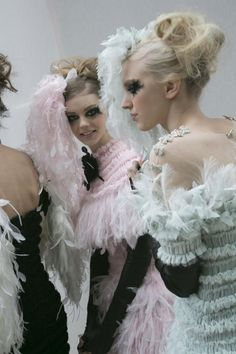 Backstage at Chanel Spring/Summer 2013 Couture at Paris Fashion Week.