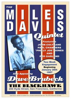 Miles Davis Quintet at the Blackhawk, San Francisco, California, 1957 Art Print