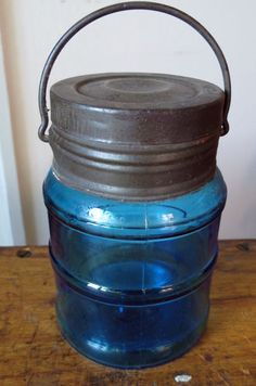 BLUE GLASS PAIL FRUIT JAR with TIN LID & BAIL - PAT JUNE 24 1884 - BOSTON
