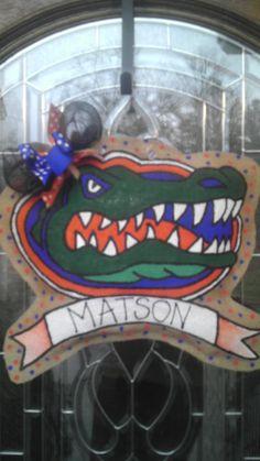 Gators burlap hanger & Created by Charmed South Wood Florida Gator door hanger. The blue ...