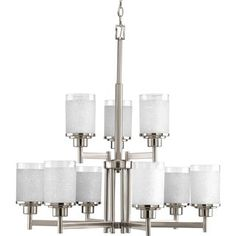 Shop for Progress Lighting Alexa Collection 9-Light 2-Tier Brushed Nickel Chandelier Lighting Fixture. Get free shipping at Overstock.com - Your Online Home Decor Outlet Store! Get 5% in rewards with Club O!