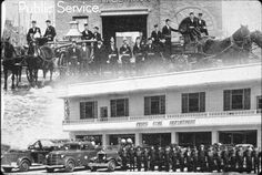 "Provo City Fire Department (1949) The Fire Departments home is at the new municipal compound. Before and After: 1949 Fire Dept.' was written on the envelope holding this slide. The words ""Public Service"" are printed on this picture in upper left corner."