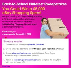 """Are you heading to college? eBay is holding a Pinterest sweepstakes where one Grand Prize winner will receive a $5,000 eBay Shopping Spree toward a dorm room makeover. All you have to do is create a pin board on Pinterest with items from eBay that you'd use to decorate your dorm room. Name your board """"eBay Dorm Room #eBayCollege"""" and fill out the form here: www.ebay.com/pinterestdormroom. It's that easy!"""