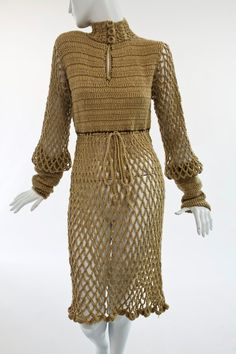 1960'S MADE IN MALTA TAN WOOL HAND CROCHET DRESS via Manhattan Vintage Clothing Show