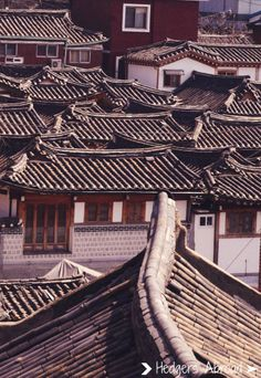 Rooftops of the Bukchon hanok houses in Seoul, South Korea - not many left. South Korea Seoul, South Korea Travel, Korean Traditional, Traditional House, Bukchon Hanok Village, Korean Peninsula, Beautiful Places, Around The Worlds, Nature