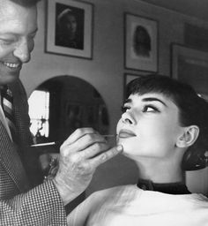 """Alberto de Rossi was Audrey's makeup man throughout her career. Alberto is the one who created the legendary """"Audrey Hepburn eyes,"""" in a slow process of applying mascara and then separating each eyelash with a safety pin.  """"I remember her saying when he died, crying as though she had lost a brother, that she would rather not work again."""" -Sean Hepburn Ferrer"""