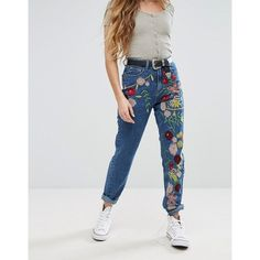 Glamorous Embroidered Jeans (€26) ❤ liked on Polyvore featuring jeans, blue, relaxed jeans, zipper jeans, embroidery jeans, 5 pocket jeans and highwaist jeans