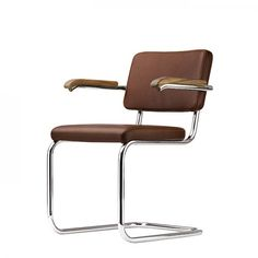 Thonet Freischwinger S 64 PV Pure Materials Marcel Breuer, Charles & Ray Eames, Le Corbusier, Bauhaus Chair, Cantilever Chair, Mid Century Chair, Antique Chairs, Leather Furniture, Chair Pads