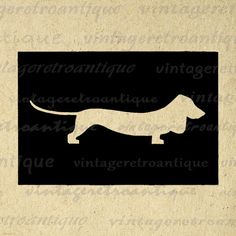 Printable Dachshund Dog Silhouette Image Digital Weiner Dog