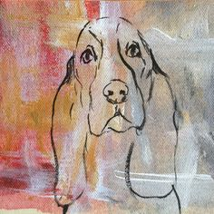 Basset Hound Mini-Painting from Painted Paws Studio | Square Market #bassethound #petportrait