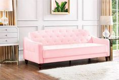 Pink tufted sofa couch home decor gold white walmart budget