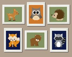 WOODLAND Nursery Art Animals Rustic Country Baby Boy Decor Raccoon Bear Owl Fox Deer WALL ART Set of 6 Prints Woodland Decor Bedding Picture