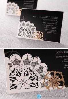 Laser Cut Floral Frame by B Wedding Invitations  #weddinginvitations  #invitations  #wedding  #blackinvitations  #lasercut  #bweddinginvitations