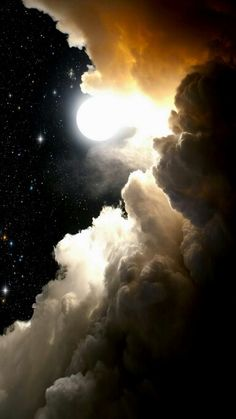 Stunning image of stars, moon, and clouds. Source is jpeg with no other info.