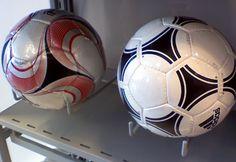 Soccer Balls Balance on Utility Hooks Soccer Store, Store Fixtures, Visual Merchandising, Soccer Ball, Hooks, Balls, Garage, Dressing, Window