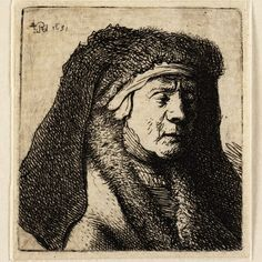 Rembrandt, Oude vrouw met bontmantel (B 355 ), 1631. Teylers Museum