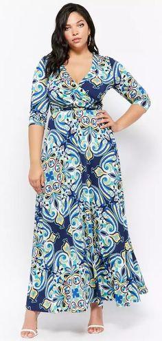 Plus Size Ornate Print Maxi Dress #plussize