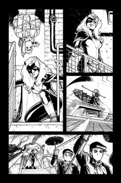 Page from Batman & Robin n°8 in the original black and white by Cameron Stewart