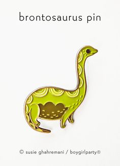 You will receive this enamel pin featuring an brontosaurus - nessie - dinosaur hybrid drawing by Susie Ghahremani / boygirlparty.com  This weird and wonderful pin is made of iron with a brass colored finish and four colors of enamel, this pin measures approximately 1.75 tall and features two butterfly clasps on the back.  Please be advised that this pin is small and therefore not suitable for kids.  Artwork by Susie Ghahremani / boygirlparty ®  To visit my entire illustrated jewelry…