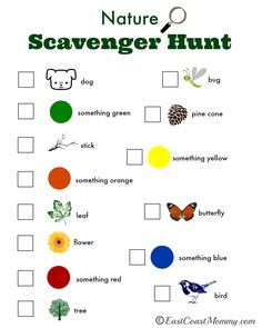East Coast Mommy: Nature Scavenger Hunt {with free printable} Source by dawnetorres and me activities Autumn Activities For Kids, Summer Activities, Preschool Activities, Games For Kids, Crafts For Kids, Family Activities, Camping Activities, Indoor Activities, Easy Crafts