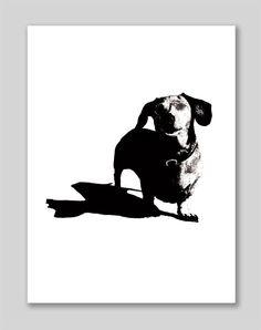 Dachshund hot dog black & white ink drawing Print  8.5 x 11