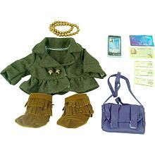 Journey Girls Doll Fashion Outfit - Green Jacket/Purple Bag