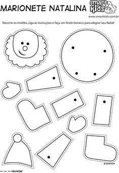 Colorir Desenho Marionete Molde - Desenhos para colorir - Smartkids Christmas Tree Poster, Kids Rugs, Symbols, Letters, Professor, Kids Learning Activities, Molde, Candy Cane Reindeer, Animal Activities