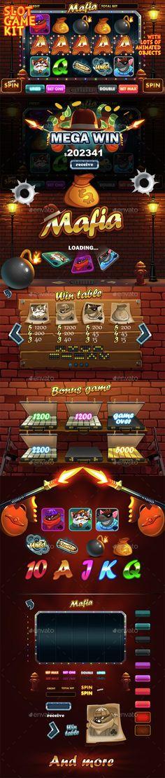 Mafia slot game kit — Photoshop PSD #excitement #chicago • Available here → https://graphicriver.net/item/mafia-slot-game-kit/14729407?ref=pxcr