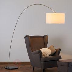 Alia fabric floor lamp with an LED lamp-Arc Arc Lamp, Arc Floor Lamps, Farmhouse Lamps, Rustic Lamps, Deco Design, Lamp Design, Cool Lamps, Led Lampe, Luminaire Led