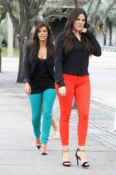 Kim and Khloe in Bright Pants