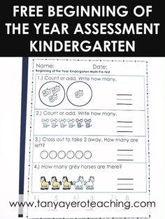 FREE Kindergarten Beginning Of The Year Assessment