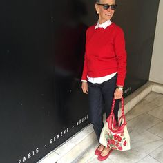 Rarely wear red, but was inspired by this Bag. All hand embroidered by a lady on the Island Of Sardinia who is 80 years Of age. #CrimsonCashmere red crewneck #Saint Laurent red ballet skippers #CrimsonCashmere button down Oxford shirt #CrimsonCashmere essential accessory The It Bag To Own!!!!! #AcneJean In raw denim
