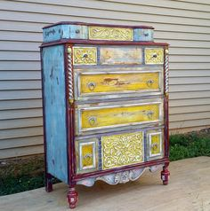 Amazing hand painted  chest of drawers art by MendedRosesStudio