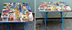 Renove sua mesa usando folhas de revistas