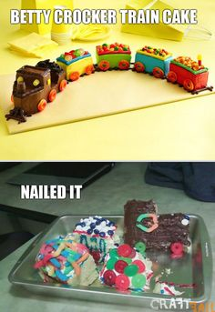 Train Cake Reality: more of a train wreck, really. This is putting an end to my train cake pinning :) Food Fails, Fail Nails, Pinterest Crafts, Pinterest Cake, Pinterest Food, Pinterest Funny, Pinterest Photos, Pinterest Fails, Friday Humor