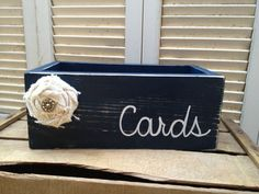 Distressed Navy Blue and White Wedding Cards Box Navy Blue Wedding ...