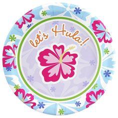 Hawaiian Girl Dessert Plates  Hawaiian Girl Dessert Plates Package includes 8 paper dessert plates. Each measures 7 in diameter.   Now Only $2.99/Pack