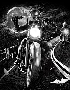 Jack Daniel's - Community Building on Behance Harley Tattoos, Biker Tattoos, Harley Davidson Images, Harley Davidson Wallpaper, Motorcycle Art, Bike Art, Jack Daniels, David Mann Art, Sugar Skull Art