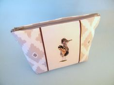 Road runner bird, cosmetic pouch, hand embroidered, zipper purse, cotton lined bag, Ladies make up bag, white and grey pouch, needle art