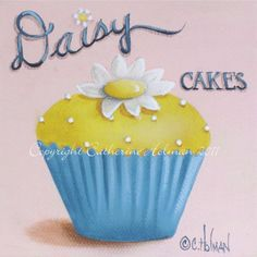 Fresh as a summer breeze, this little yellow cupcake is topped with a pretty daisy and tiny white candies.    This print from my original
