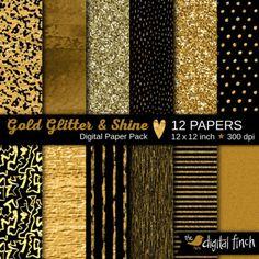 Gold Glitter & Foil digital scrapbook paper pack by The Digital Finch on Etsy